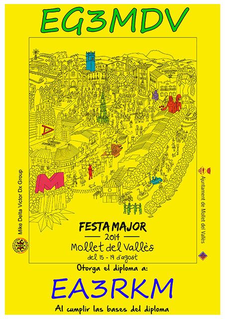 Diploma Fiesta Mayor MDV 2014