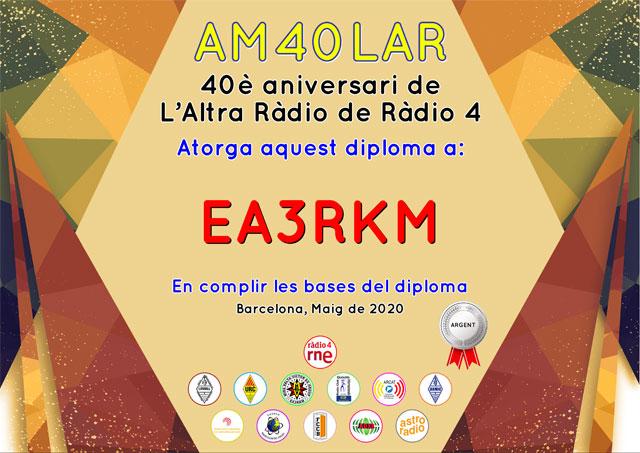 Diploma Argent d'AM40LAR - 40 aniversari de L'Altra Ràdio de Ràdio