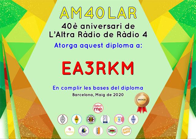 Diploma Bronze d'AM40LAR - 40 aniversari de L'Altra Ràdio de Ràdio 4