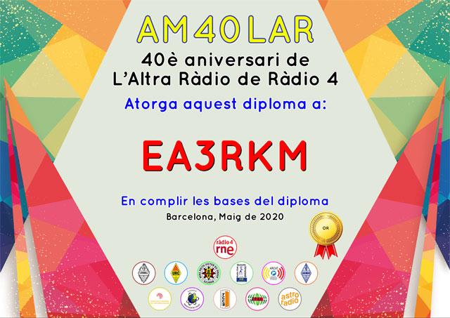 Diploma Or d'AM40LAR - 40 aniversari de L'Altra Ràdio de Ràdio